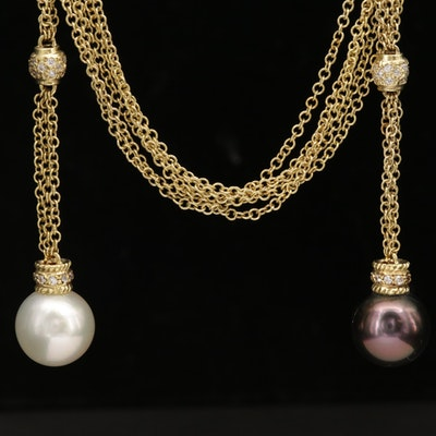 18K Gold Pearl Sautior Necklace with Diamond Accents