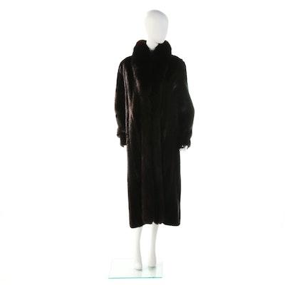 Ranch Mink Fur Coat with Dyed Fox Fur Trim