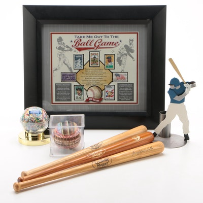 Baseball Collectibles, Includes Ruth Mini Bats and Pictorial Baseballs