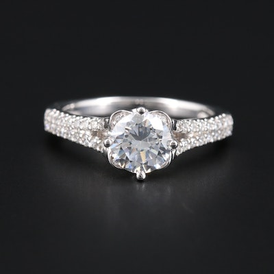 14K White Gold Cubic Zirconia and Diamond Semi-Mount Ring