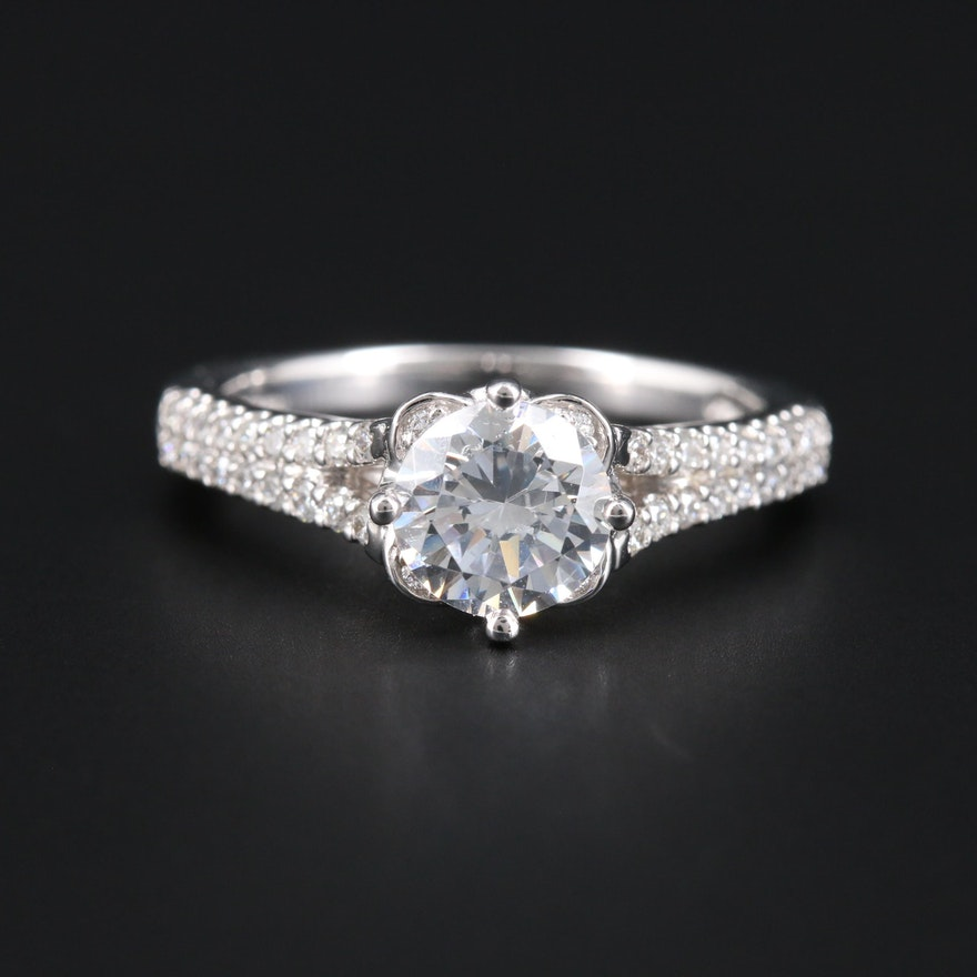 14K White Gold Cubic Zirconia and Diamond Semi-Mount Ring