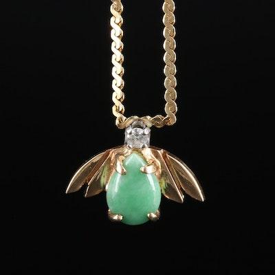 14K Yellow Gold Jadeite and Diamond Necklace
