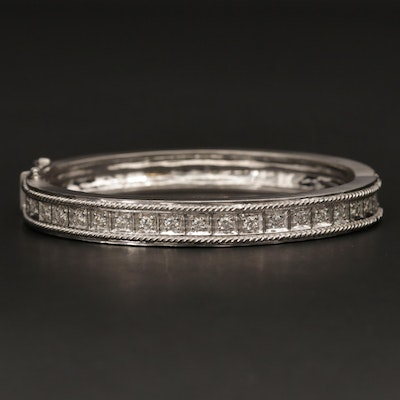 18K White Gold 1.05 CTW Diamond Hinged Bracelet