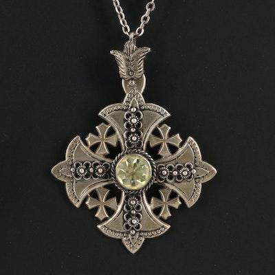 900 Silver Jerusalem Cross Pendant Necklace