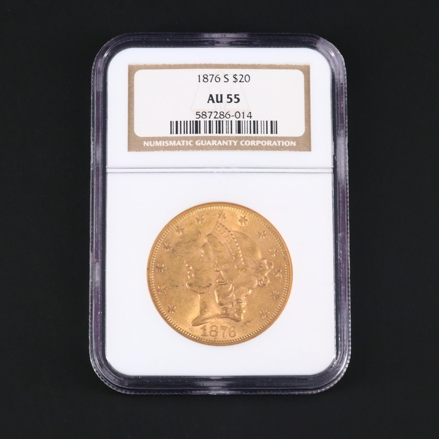 NGC Graded AU55 1876-S Liberty Head $20 Gold Coin
