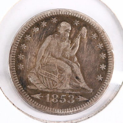 1853 Seated Liberty Silver Quarter