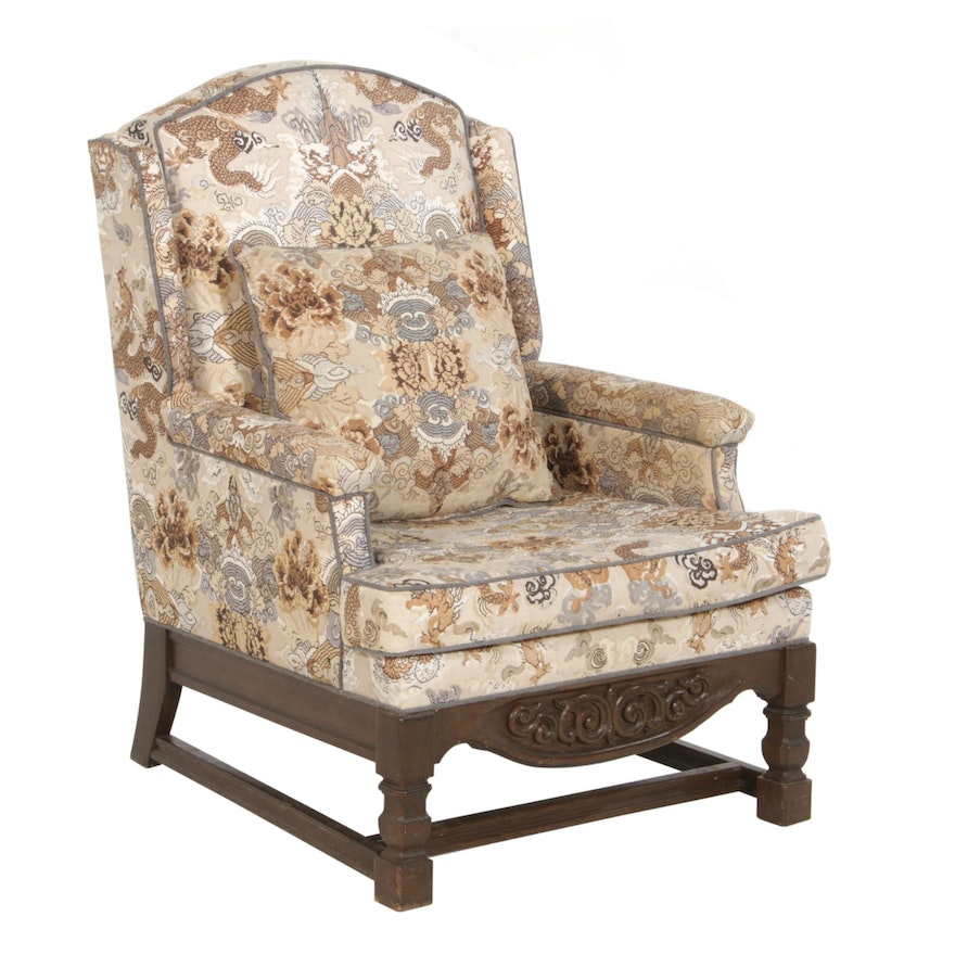 Chinoiserie Upholstered Wingback Armchair, 20th Century