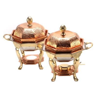 Pair of Copper and Brass Chafing Dishes with Grapevine Motif