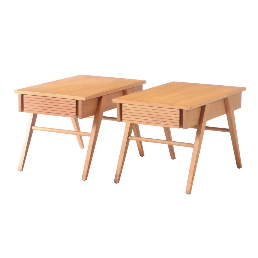 Pair of Mid Century Modern Ash End Tables with Drawers, circa 1950