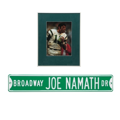 Joe Namath New York Jets Framed Photo Print and Metal Street Sign