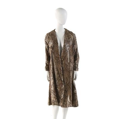 Metallic Bronze Brocade Swing Jacket, 1960s Vintage