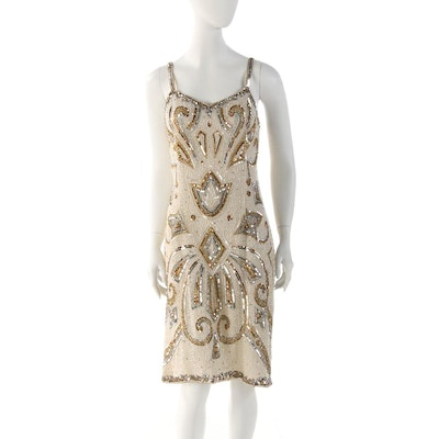 Bead and Sequin Embellished Silk Sleeveless Cocktail Dress