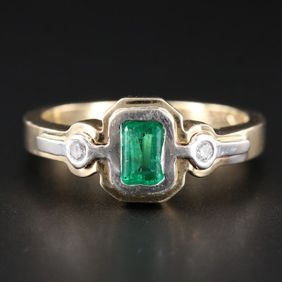 14K Yellow Gold Emerald and Diamond Ring with White Gold Accent