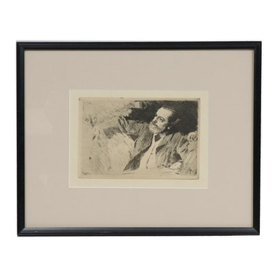 """Etching after Anders Zorn """"Antonin Proust,"""" Late 19th to Early 20th Century"""