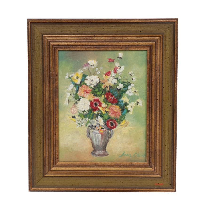 Joan Clark Still Life of Flowers Oil Painting, Late 20th Century