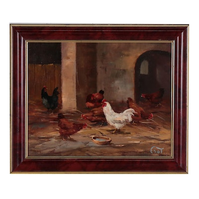 Bihari Csongor Oil Painting of Feeding Chickens