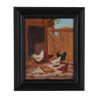 Bihari Csongor Oil Painting of Chickens