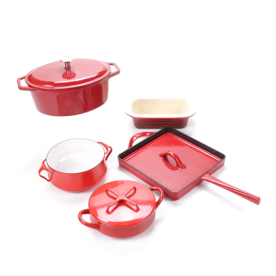 Le Creuset and Other Red Cast Iron and Enameled Cookware