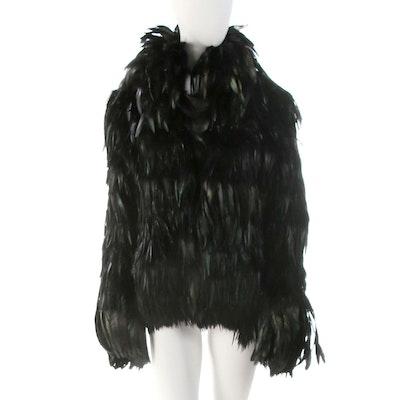 David Rodriguez Black Iridescent Feather Coat