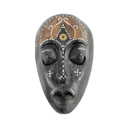 Indonesian Carved Wood Decorative Mask with Abalone Shell Inlay