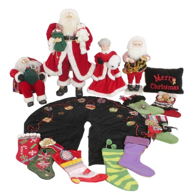 Standing Santa Display Dolls with Handmade Stockings and Other Christmas Décor