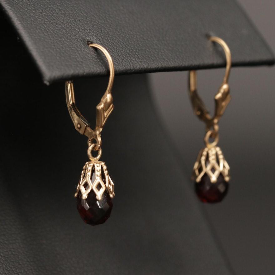 14K Yellow Gold Garnet Drop Earrings