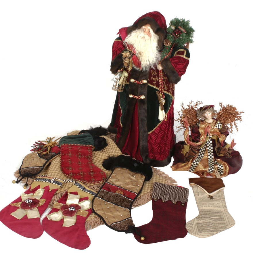 Large Standing Santa with Stockings and Other Christmas Décor