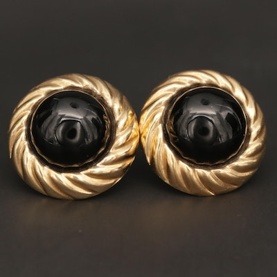 14K Yellow Gold and Black Onyx Earrings
