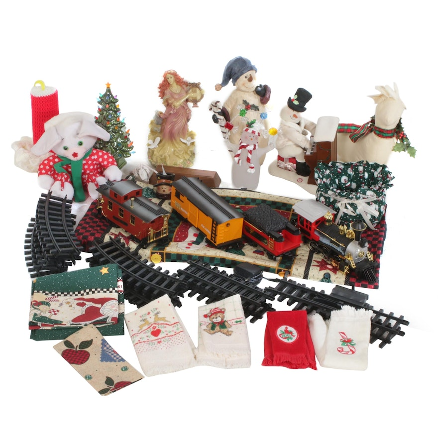 Christmas Holiday Tabletop Decor with Ceramic Tree and Battery Powered Train