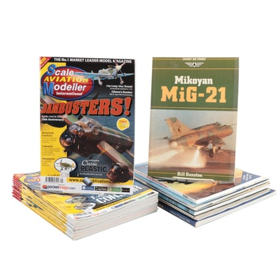 Military and Scale Model Aviation Books-Magazines, One Signed, Late 20th Ca.