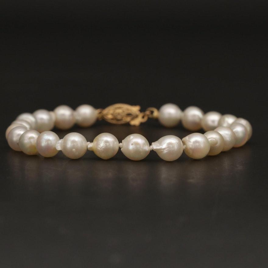 14K Yellow Gold Pearl Bracelet