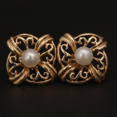 14K Yellow Gold Pearl Openwork Earrings