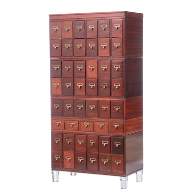 Library Bureau-Makers, Mahogany and Glass-Footed Five-Stack Card File Cabinet
