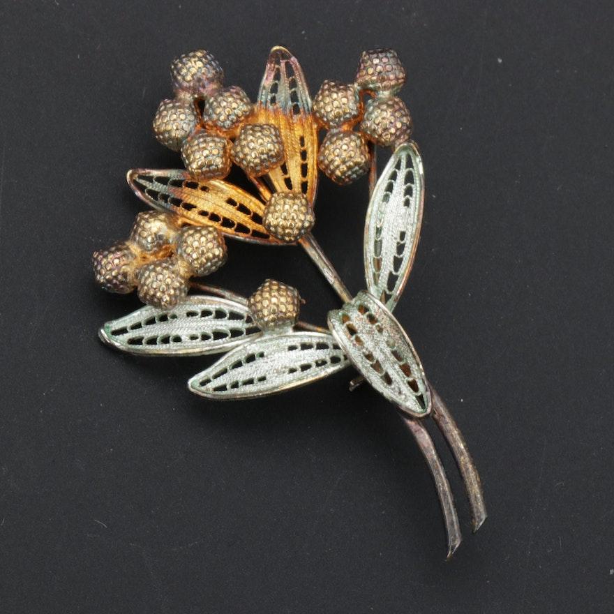 Vintage 830 Silver Filigree Botanical Brooch
