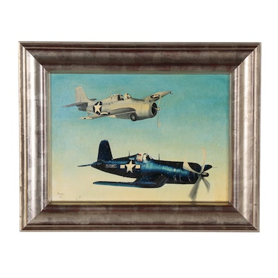 Oil Painting of WWII Era Fighter Planes