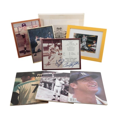 """Enos Slaughter Signed """"Induction Day"""" and Other Hall of Fame Great Prints"""