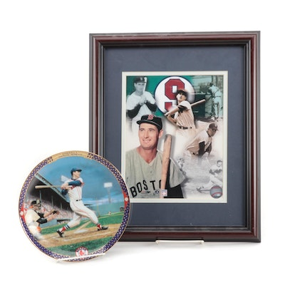 Ted Williams Boston Red Sox Framed Photo Print and Bradford Exchange Plate, 1995