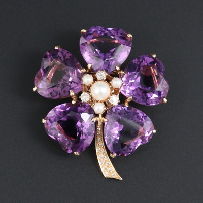 14K Yellow Gold Amethyst, Pearl and Diamond Brooch