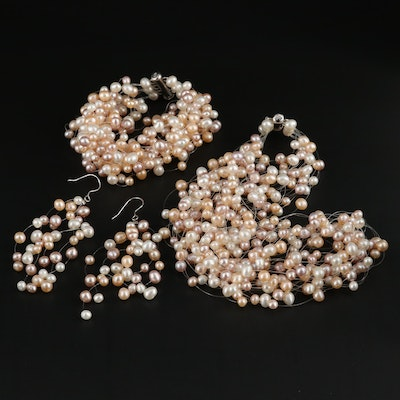 Sterling Silver Cultured Pearl Multi-Strand Jewelry Set