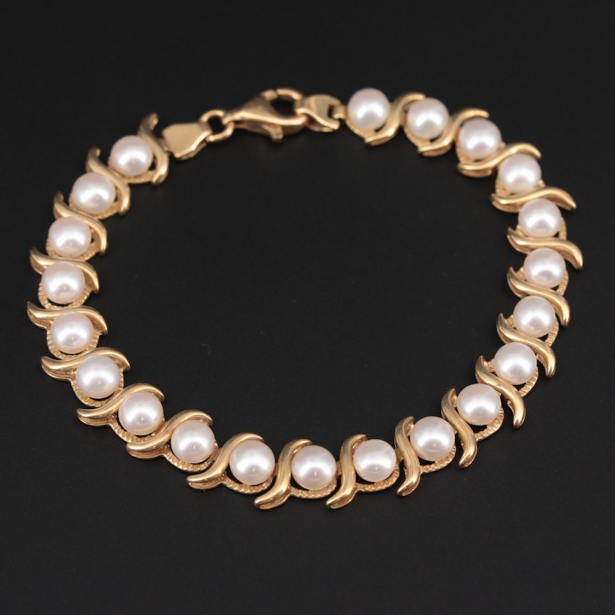 14K Yellow Gold Pearl Fancy Link Bracelet