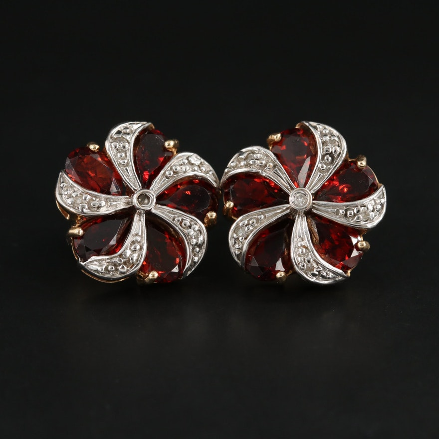 14K Yellow Gold Garnet and Diamond Earrings