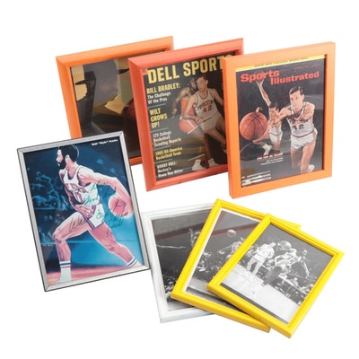 Walt Frazier Signed Knicks Photo Print and Bill Bradley Collectibles