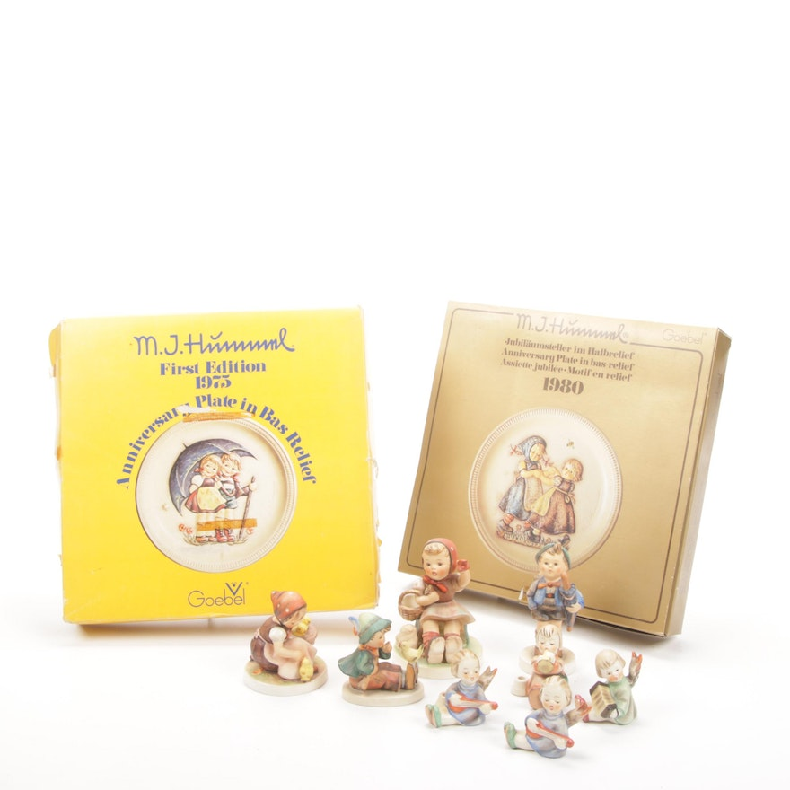Hummel Porcelain Figurines and Annual Collector Plates, Mid to Late 20th Century