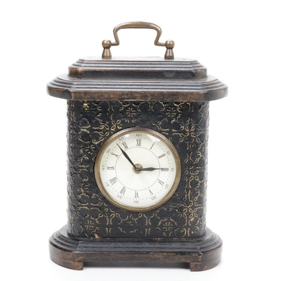 Hammered Sheet Metal Accented Wooden Mantel Clock