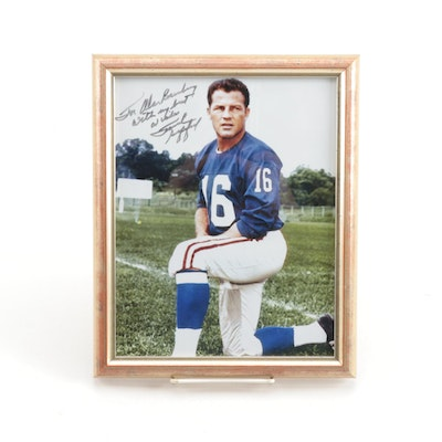 Frank Gifford Signed New York Giants Framed Football Photo Print