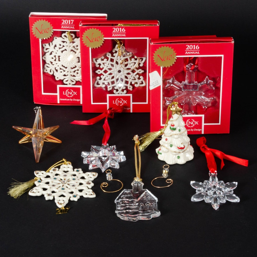 Orrefors, Lenox and Mikasa Annual and Other Christmas Ornaments