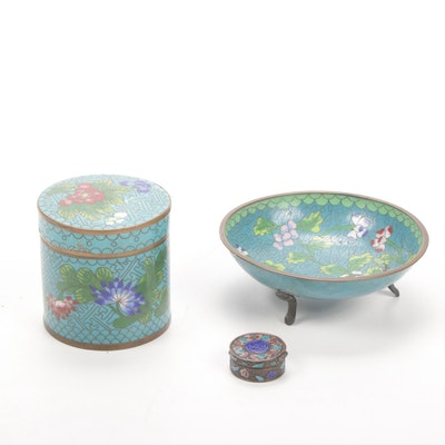 Chinese Cloisonné Footed Dish, Tea Caddy and Snuff Box, Mid to Late 20th Century