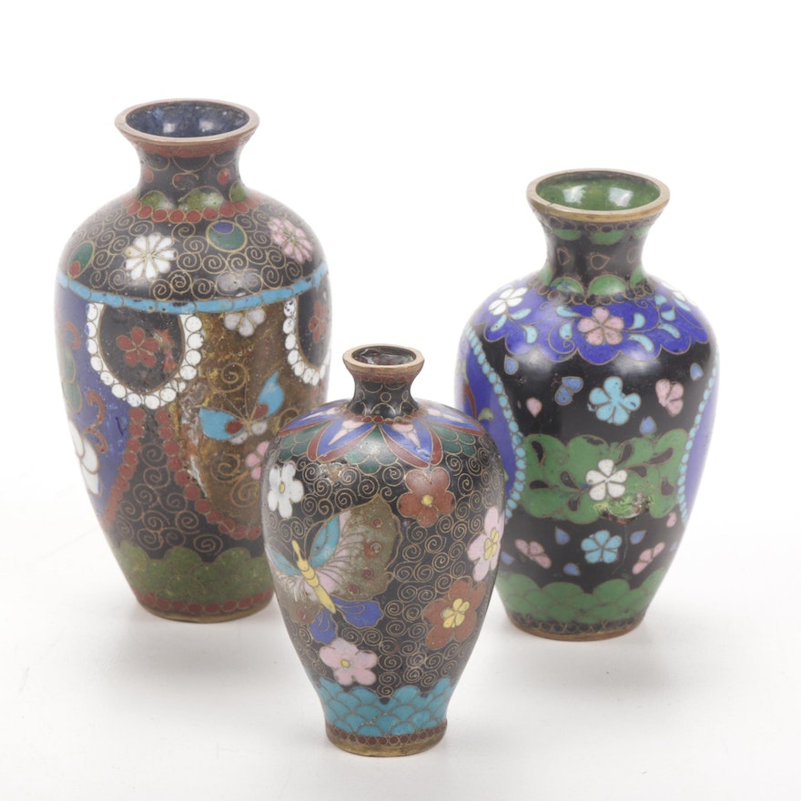 Japanese Miniature Cloisonné Vases, Late 19th to Early 20th Century