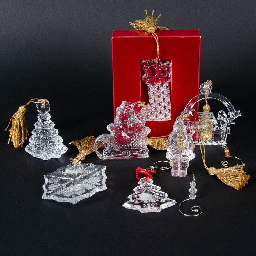 "Marquis by Waterford ""Christmas Endearments"" and Other Crystal Holiday Ornaments"