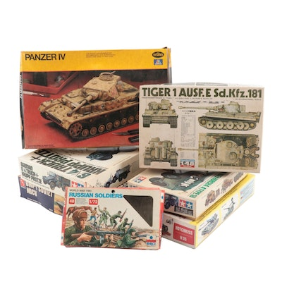 Military Model Kits Including Soviet Tank in Original Packaging, Late 20th Ca.